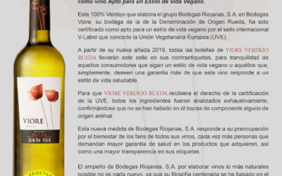 VIORE Verdejo recibe el sello V-Label, que lo garantiza Apto para un Estilo de Vida Vegano