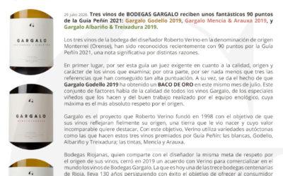 Fantástica puntuación en la Guía Peñín 2021 de GARGALO