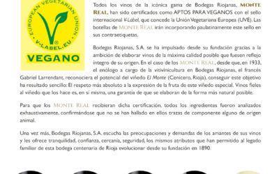 Monte Real consigue el certificado V-Label, vinos aptos pàra veganos